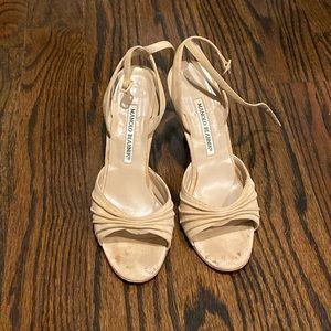 Beautiful tan suede Manolo Blahnik heels